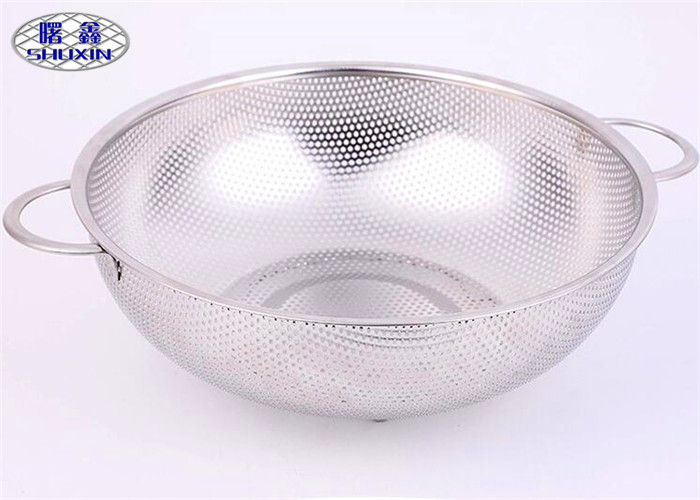 Double Ear Wire Mesh Fruit Basket Silver Perforated Intensification Bowl