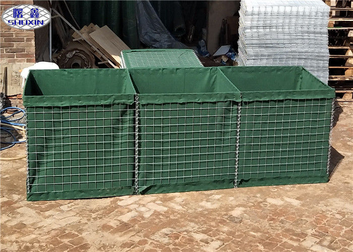 Green HDP Galvanized Military Hesco Barriers for Temporary Fortifications