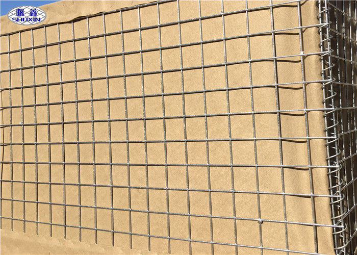 Mil 7 HDP Galvanized Sand Wall Military Hesco Barriers With 300 GSM UV Protection Geotextile